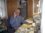 Ray on the telephone helping someone out.  Over his left shoulder you can see his typewriter.  It was Ray's habit to write his reply on the letter you sent him.