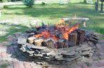 Log fire in firepit.